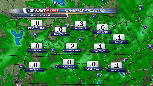 """FutureMAX Predictor shows we could pick up around 0.20"""" of rain Sunday with the passage of a cold front."""