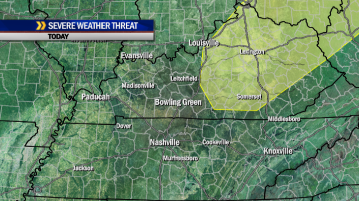 A slight risk for a few severe storms exists mainly north and east of the I-65 corridor today.