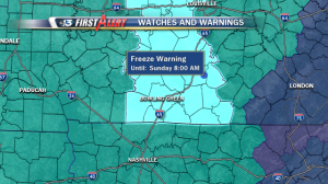 Freeze Watch updated to a Freeze Warning for the entire WBKO viewing area through Sunday morning. A hard, killing freeze is now likely.