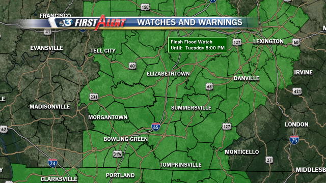 Flash Flood Watch through Tuesday 7pm for much of the WBKO viewing area.  Locally heavy rains of 2-3 inches are possible.