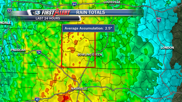 DopplerMAX estimated rainfall for the past 24 hours shows a few areas with 2.5 up to 3 inches locally.