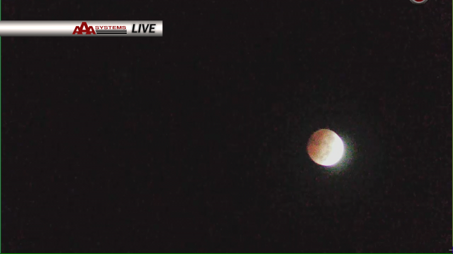 "Our AAASystems DopplerCam catching the start of the lunar eclipse this morning.  It's called a ""blood moon"" because of the reddish hue that is given from the eclipse as it nears sunrise."