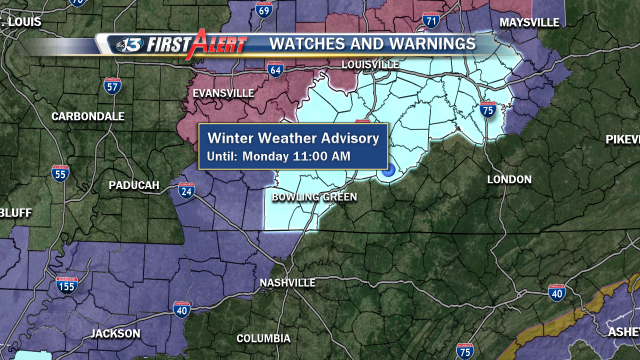 A Winter Weather Advisory continues for much of the WBKO viewing area until 11am.