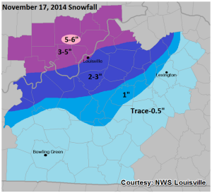 Official NWS Louisville total snowfall map based on actual reports.