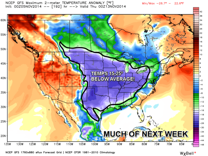GFS guidance shows a good chunk of the Central Plains, Ohio and Mississippi Valley regions will see temperatures 15-25° below average for much of next week. Data courtesy WeatherBell.com
