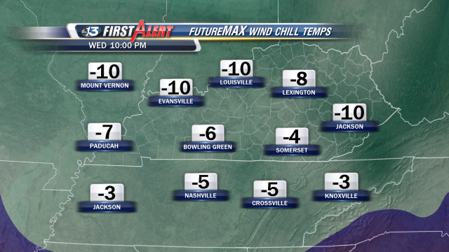 FutureMAX projected wind chill readings for Wednesday night into early Thursday morning.