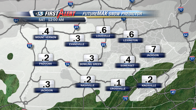 FutureMAX Snow Predictor shows the possibility of a dusting to near a half-inch of snow in most areas late tonight.